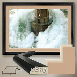 44Wx32H PHARES DANS LA TEMPETE by J. GUICHARD -DOUBLE MATTE, GLASS and FRAME