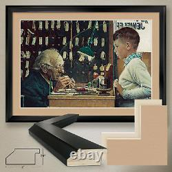 44Wx32H THE WATCHMAKER by NORMAN ROCKWELL DOUBLE MATTE, GLASS and FRAME