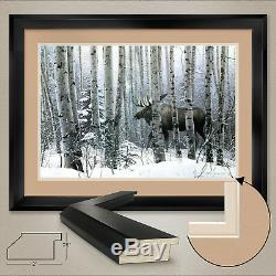 44Wx32H WALK IN THE WOODS by STEPHEN LYMAN DEER DOUBLE MATTE, GLASS and FRAME