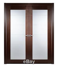 64 X 80 Max 209 Double Interior Wood Door With Frame & Frosted Glass Wenge Brown