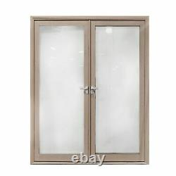 ALEKO Aluminum Glass-Panel Interior Double Door with Frame 72 x 96 inches Walnut