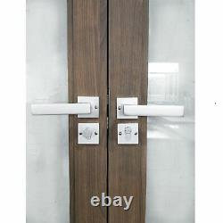 ALEKO Aluminum Glass-Panel Interior Double Door with Frame 72x96 inches Chestnut