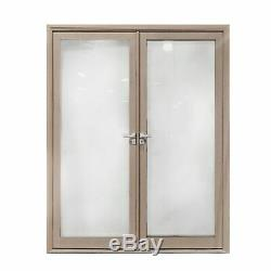 ALEKO Glass Aluminum Double Door with Frame 60 x 84 inches Light Walnut