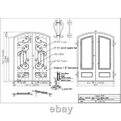 ALEKO Iron Arched Top Dual Door with Frame 96 x 72 Inches Matte Black