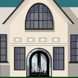 ALEKO Iron Dual 96x108x6 Door with Arched Frame and Threshold Matte Black