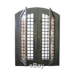 ALEKO Iron Woven Dual 81x62x6 Door with Frame and Threshold Rustic