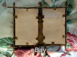 Antique Double Twisted Wire, Convex Glass, All Orig. Easel Back, Picture Frame