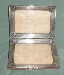 ANTIQUE GLASS WOOD STERLING 925 DOUBLE PICTURE FRAME FOLDING POCKET TRAVELLING