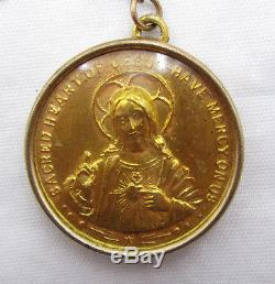 Antique Gold Wash Sacred Heart Double Sided Framed Medal & Glass Rosary