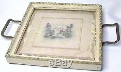 Antique Japanese Framed Miniature Silk Painting Under Glass Double Handle Tray