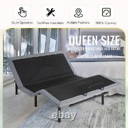 Adjustable Queen Bed Frame with Remote Control USB Charging Ports and Massage