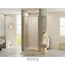 Alcove Shower Door 34 in. W x 64 in. H Patterned Glass Pivot Grip Brushed Nickel