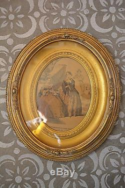 Antique 1860s Oval Double Picture Frame Gold Gilt Glass 1845 Print Great
