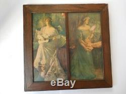 Antique 1907 Alfred James Dewey Double Prints Framed In Oak And Hand Made Glass