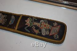 Antique Chinese embroidered Silk Fan Case Framed Double sided Glass