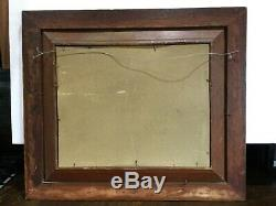 Antique Double Oak & Gold Gilt Gesso Frame with Girl Goose Print 26x29 orig Glass