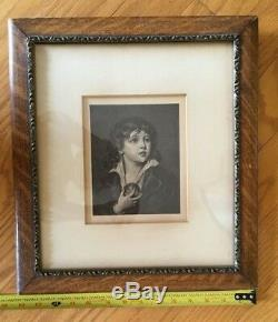 Antique Etching Engraving Drawing Art Oak Framed Double Mat Glass c. 1910 Paintin