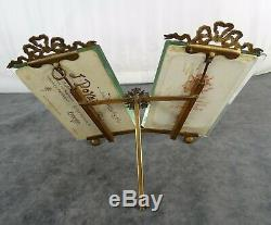 Antique French Bronze & Beveled Glass Double Picture Frame Louis XVI Flowers
