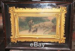 Antique Painting of Man and Dog Herding Sheep Down Road DOUBLE FRAMED withGLASS