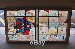+ Antique Stained Glass Window + In Double Hung Frames, Butterfly + chalice co