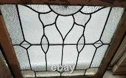 Antique Textured Leaded Stained Glass Double Hung Window 24.5 x 23.5 Orig Frame
