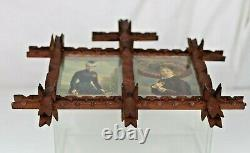 Antique Tramp Art Puzzle Double Picture Frame with Antique Prints Behind Glass