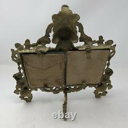 Antique Vintage French Bronze Double Picture Frame 5x3.5 Glass Tabletop Cherubs