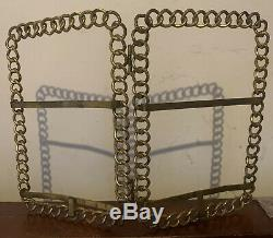 Antique Vintage Victorian Brass Ring Chain Link Double Photograph Picture Frame