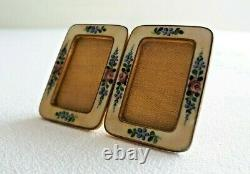 Antique bronze enamel double miniature Photo Frame with easel & glasses 1900´s
