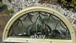 Architectural Thick Gold Leaded Double Glass Arched Half Moon Window Framed
