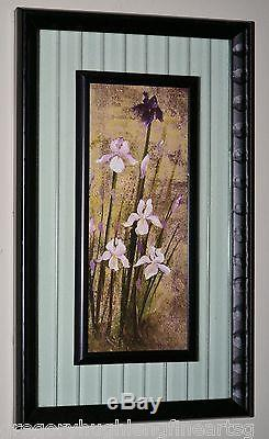 BEAUTIFUL FLOWER VIOLET & WHITE ORCHIDS on FLOATING GLASS DOUBLE FRAMED RARE
