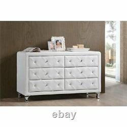 Baxton Studio Luminescence 6 Drawer Faux Leather Double Dresser
