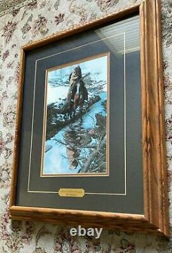 Bev Doolittle Spirit of the Grizzly Double Matted Framed Plaque Glass 22x18