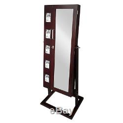 Brown Picture Frame Double Doors Jewelry Armoire Cabinet Box with Mirror and Key