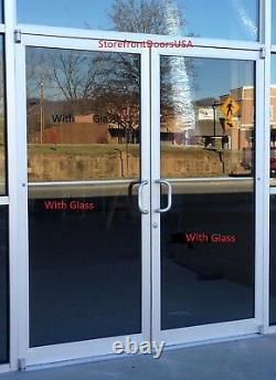 COMMERCIAL STOREFRONT DOUBLE DOOR, FRAME & CLOSER 6'0 x7'0, CLEAR FINISH withGlass
