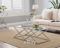 Chrome Finish / Glass Top Metal Frame Cocktail Coffee Table with Double X Design