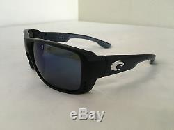 Costa Del Mar DOUBLE HAUL Matte Black Frame with Blue Mirror 580G Glass Lens NEW