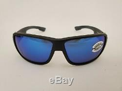 Costa Del Mar Double Haul Blue Mirror 580 Glass Black Frame NEW DH 11 OBMGLP
