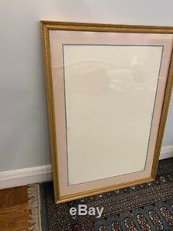 Custom Wood Frame With Glass And Double Matting. 47 By 331/2. Light Gold