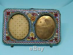 Double Antique Victorian MICRO MOSAIC Italy Glass Tile Picture Frame