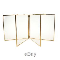 Double Sided Glass & Metal Photo Picture Frame Freestanding 9.4 x 9.4