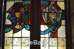 + Double Stained Glass Window In Wood Frames + Chalice & Grapes + (#3) +