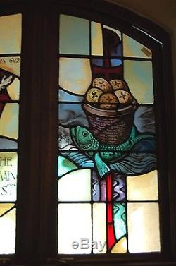 + Double Stained Glass Window In Wood Frames + Fish + (#4) + chalice co