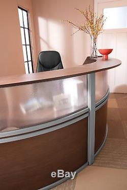 Double Unit Reception Desk in Cherry Finish with Plexi Glass and Silver Frame