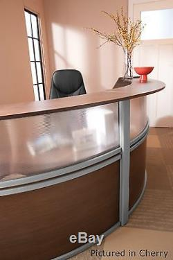 Double Unit Reception Desk in Maple Finish with Plexi Glass and Silver Frame