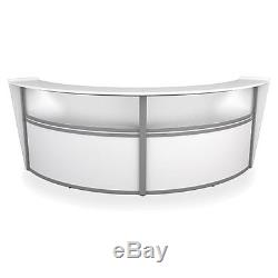 Double Unit Reception Desk in White Finish with Plexi Glass and Silver Frame