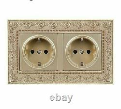 Electrical Double Socket Crystal Wall Panel Embossing Frames Standard Retro Zinc