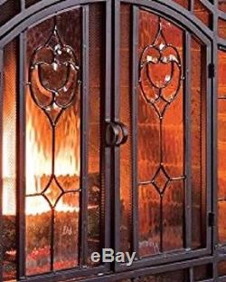 Fireplace Screen Cover Guard Hearth Double Glass Doors Black Steel Frame 44x33