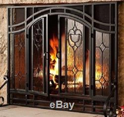 Fireplace Screen Guard Hearth Cover Double Doors Beveled Glass Black Steel Frame