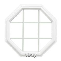 Fixed Octagon Vinyl Window Crisscrossed Grids Insulated Glass White Home Repair